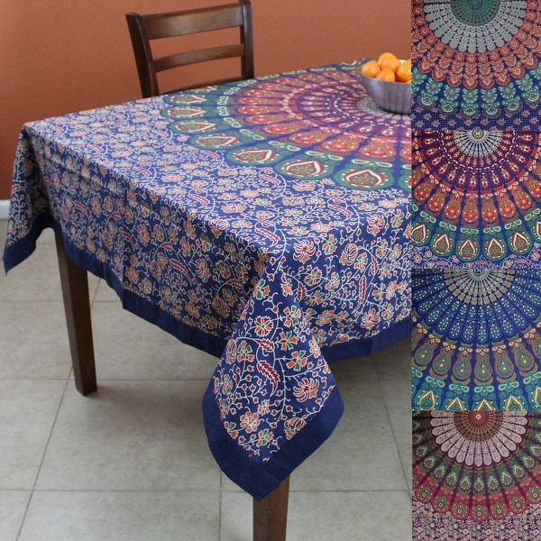 Superb Handmade Cotton Sanganer Peacock Floral Rectangular Tablecloth 60 X 90  Inches Green Blue Red Orange