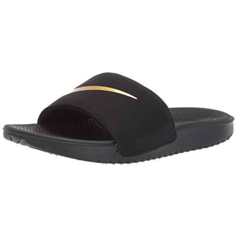 Nike Boys Kawa Slide (GS/PS) Sandal, Black/Metallic Gold, 7Y Regular US Little Kid