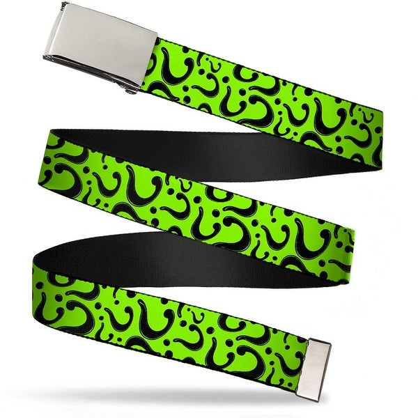 Blank Chrome Buckle Question Mark Scattered Lime Green Black Webbing Web Belt