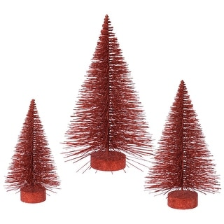"16""-20""-24"" Red Glitter Fat Tree Set"