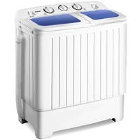 Costway Portable Mini Compact Twin Tub 17.6lb Washing Machine Washer Spin Dryer - White