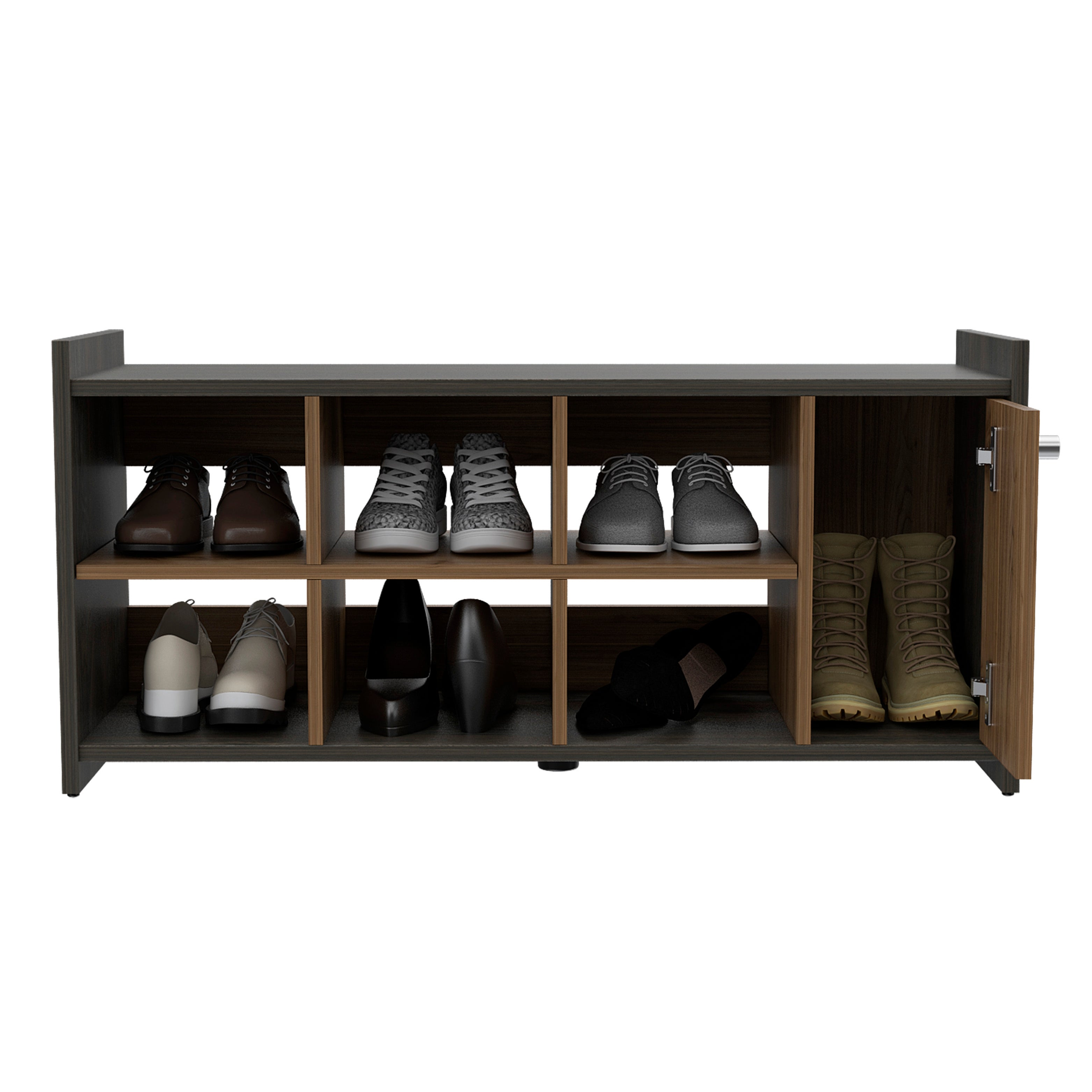 Tuhome 6 Pair Stackable Shoe Rack With Cabinet In Mahogany Espresso Overstock 31959764