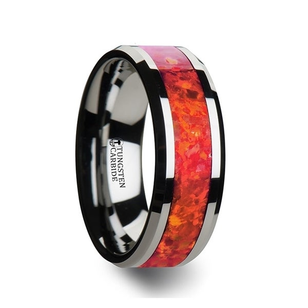 THORSTEN - NEBULA Tungsten Wedding Band with Beveled Edges and Red Opal Inlay