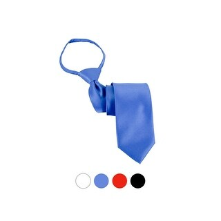 Men's Solid Color Pre-tied X-Long Zipper Neck Tie - One size