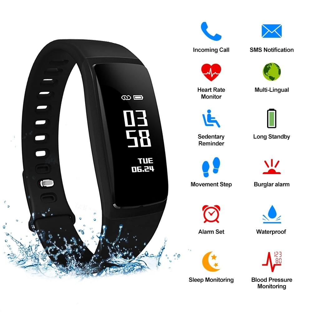 AGPtEK V07 Waterproof Fitness Tracker Smart Wristband Blood Pressure Monitor OLED Display For IOS Android Smartphone (Kits - Black - Portable - 7'6""