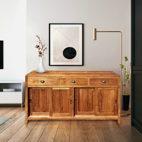 Chic Teak Waxed Teak Wood Rhone Buffet/Media Center, Medium