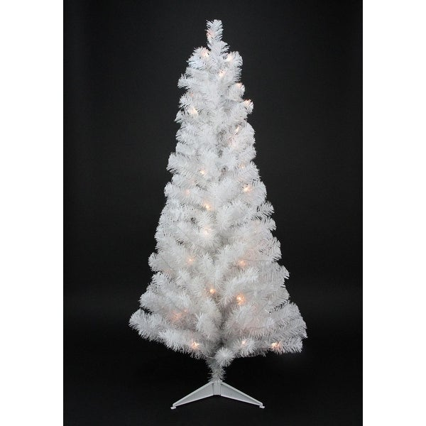 "3' x 18"" Pre-Lit White Artificial Tinsel Christmas Tree- Clear Lights"