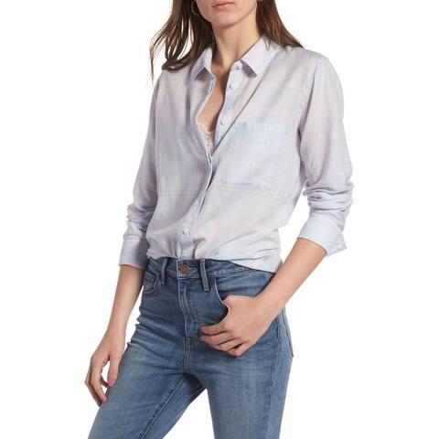 Treasure & Bond Womens Top Blue Size Large L Drapey Button Down Shirt