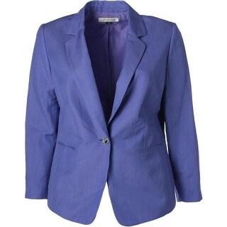 Tahari ASL Womens Plus Carly Linen Notch Collar One-Button Blazer