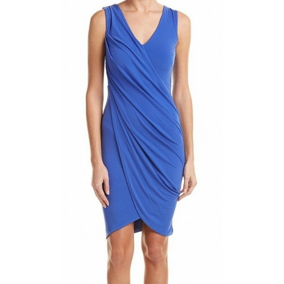 Rachel Rachel Roy NEW Blue Draped Women's Size Medium M Sheath