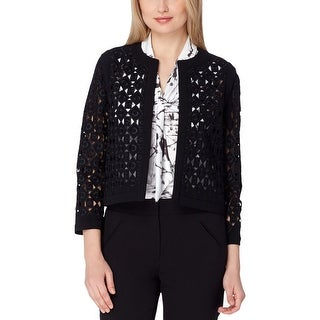 Tahari Womens Cardigan Top Laser Cut Bracelet Sleeves