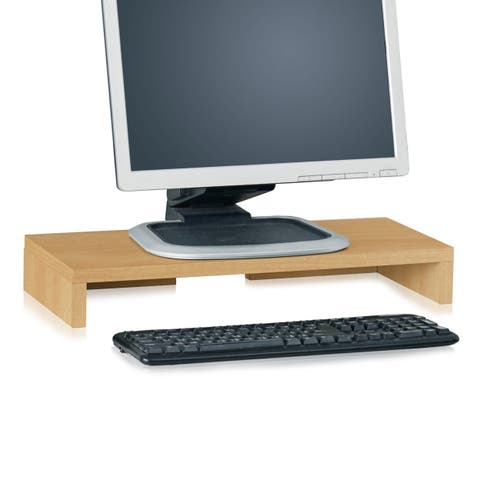 Way Basics Eco Friendly Computer Monitor Stand, Natural Wood Grain - Tool-Free Assembly - Non Toxic - LIFETIME GUARANTEE