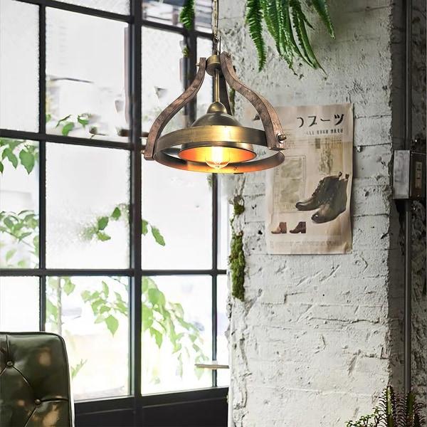 "Justin Farmhouse Wooden Kitchen Pendant Light - 12.8""x 13.6""x 13.2"". Opens flyout."