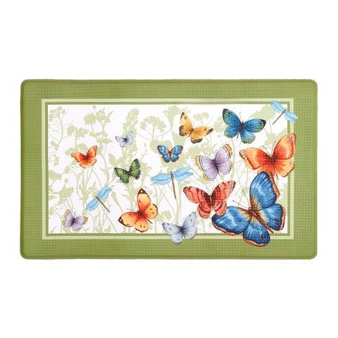 Butterflies Decorative Anti-Fatigue Mat, Green, 18x30 Inches