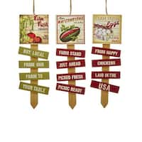 Pack of 12 Wooden Farm Country Stacked Sign Christmas Ornaments 7.5""