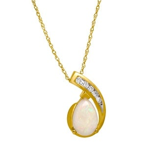 3/4 ct Natural Opal Pendant with Diamonds in 10K Gold