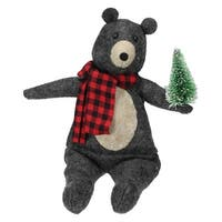 """7"""" Wind-Up Musical Animated Bear Tabletop Christmas Decoration"""