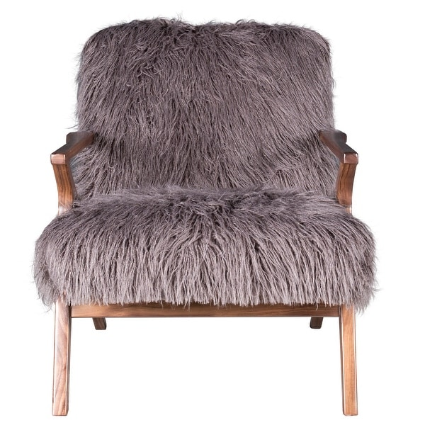 """Harp and Finial HFF24889 Henry 32"""" Wide Wood Framed Faux Fur Arm Chair - Charcoal"""