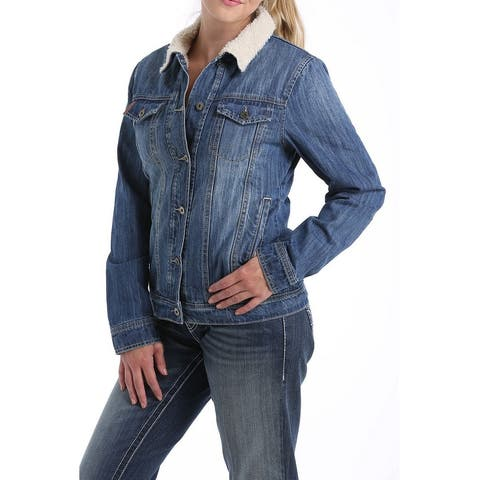 Cinch Western Jacket Womens Denim Trucker Button Dark Wash