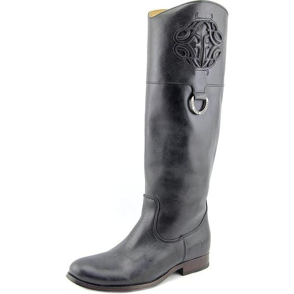 Frye Melissa Logo Women Round Toe Leather Black Knee High Boot