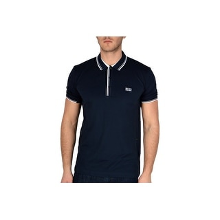 Hugo Boss Green Men's Paddy Multicolor Ribbed Polo Shirt Navy
