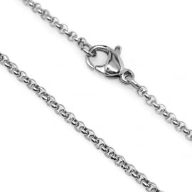 Loralyn Designs Silver Stainless Steel Rolo Link Necklace Chain (2mm)
