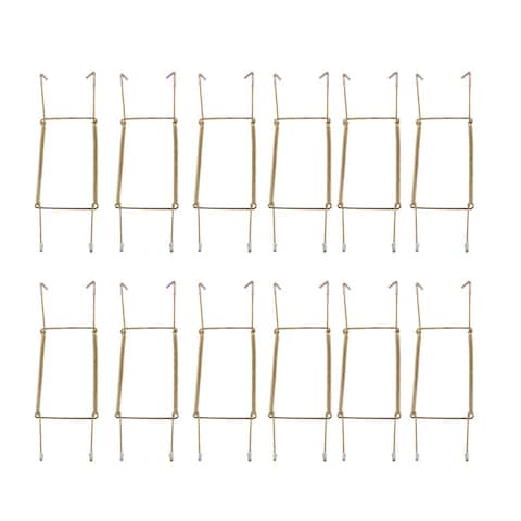 Metal 8.3 to 10 Inch Spring Plate Hangers Wall Rack Hook Display 12pcs - Gold Tone