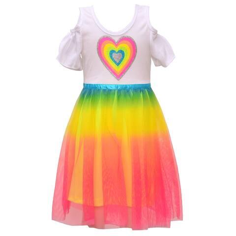 Little Girls White Rainbow Tulle Heart Easter Spring Cold Shoulder Dress