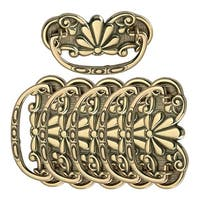 6 Antique Cabinet Drawer Pull Solid Brass Scalloped