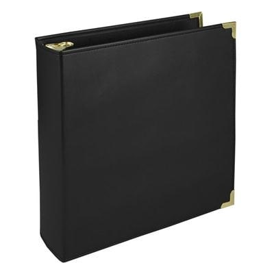 Samsill Classic Collection Executive Presentation 3 Ring Binder, 2 Inch Brass Round Ring (Holds 450 Sheets), Black