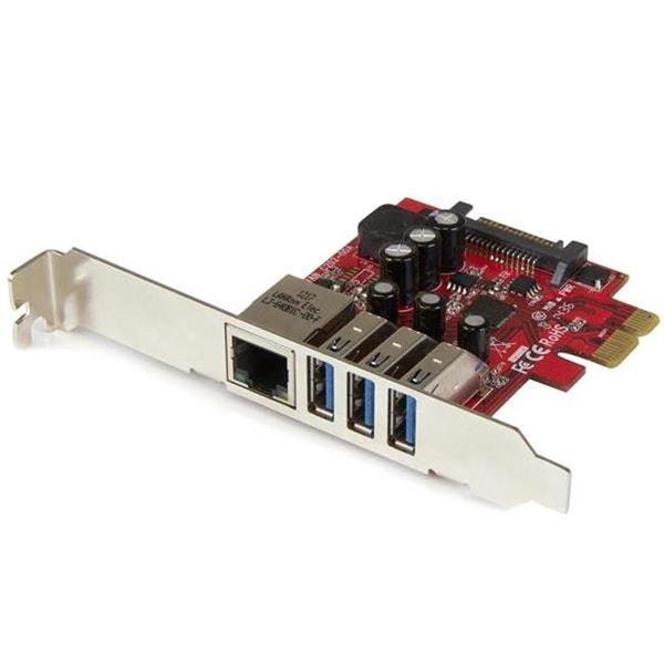 Startech 3-Port Pci Express Usb 3.0 Card & Gigabit Ethernet