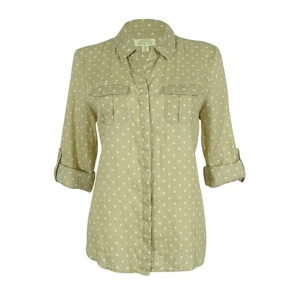 Charter Club Women's Polka Dot Linen Button Down Top - flax combo - pl