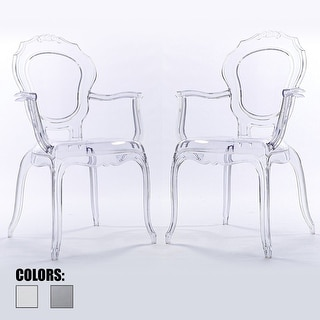 2xhome Set of 2 Clear Plastic Dining Chairs With Arms Armchair Living Room Designer Desk Office Task Molded Patio Garden Work