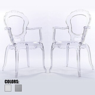2xhome -Set of 2, Clear Plastic Dining Chairs With Arms Armchair Living Room Designer Desk Office Task High Back Acrylic - N/A
