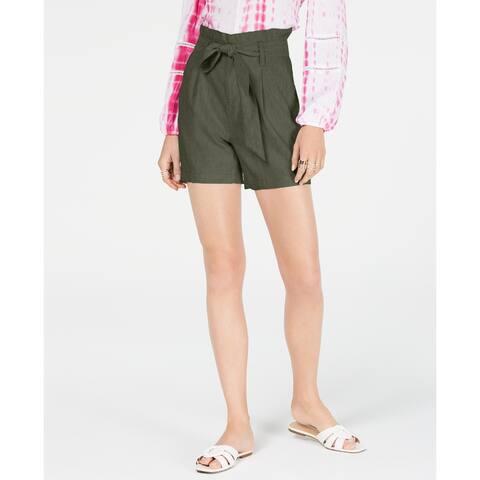 INC International Concepts Women's Paper Bag Shorts, Olive Drab, XL