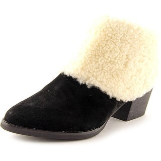 All Black Snow Cap Bootie Women Pointed Toe Suede Black Bootie