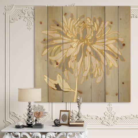 Designart 'Gold Metallic Floral Garden I' Modern Glam Print on Natural Pine Wood - Grey