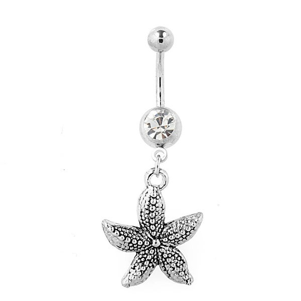 Stainless Steel Vintage Casted Starfish Navel Belly Button Ring