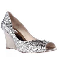 Badgley Mischka Awake Wedge Peep Toe Dress Pumps, Platinum Glitter - 8 us