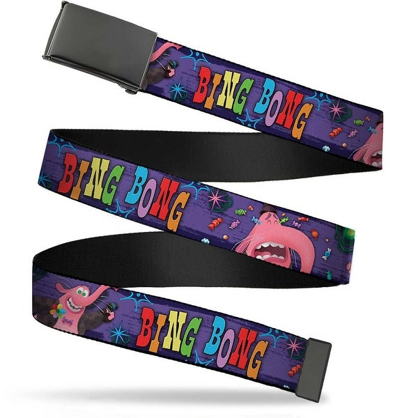 Blank Black Bo Buckle Bing Bong Poses Candy Purples Multi Color Web Belt