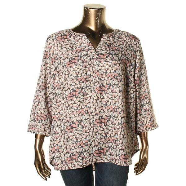 5c74898e08b830 Shop Daniel Rainn Womens Plus Blouse Satin Floral Print - Free ...