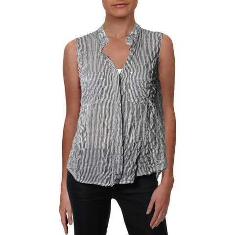 Bella Dahl Womens Button-Down Top Striped Sleeveless