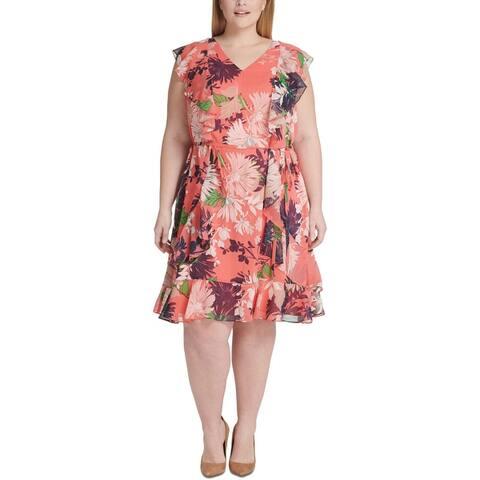 Tommy Hilfiger Womens Plus Cocktail Dress Chiffon Floral - Coral