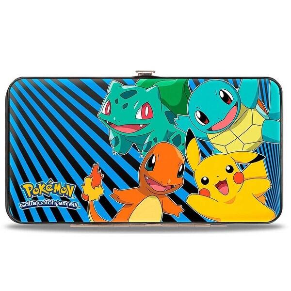 Kanto Starter Pokmon & Pikachu Pokmon Logo Rays Black Blue Hinged Wallet - One Size Fits most