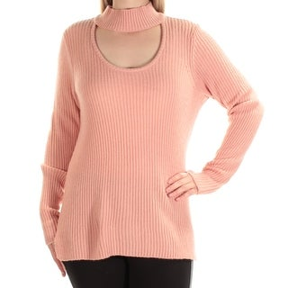 Womens Pink Long Sleeve Turtle Neck Casual Sweater Size M