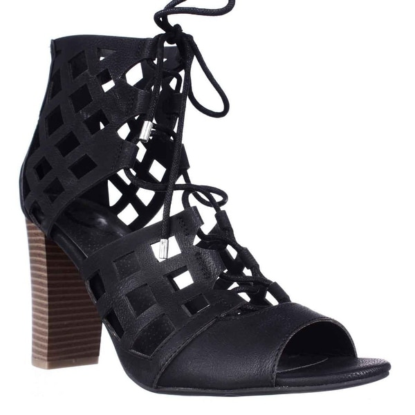 G by GUESS Iniko Lace Up Caged Sandals, Black - 9.5 us