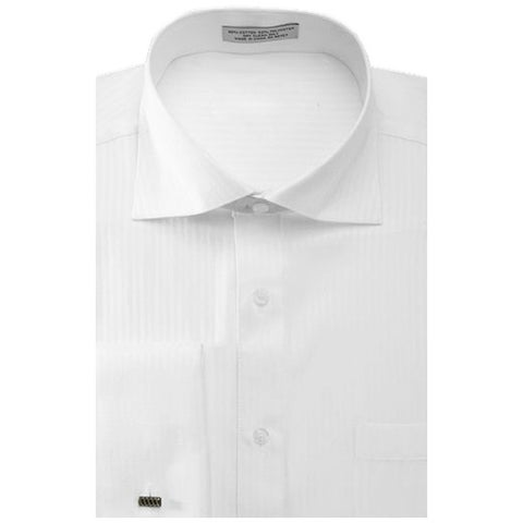 Men's Striped Herringbone French Cuff Dress Shirt