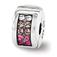 Sterling Silver Reflections Swarovski Elements Channel Pinks Clip Bead (4mm Diameter Hole)