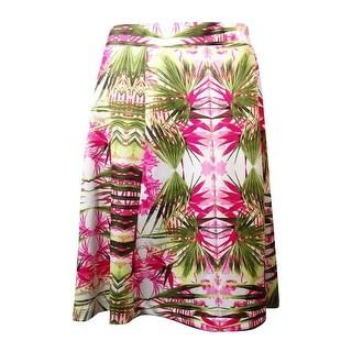 INC International Concepts Women's Palm Tree Print Ponte Skirt - 3x