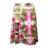 INC International Concepts Women's Palm Tree Print Ponte Skirt - Pink Multi - 3x